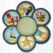 "Earth Rugs TNB-362 By The Sea Trivets in a Basket 10"" x 10"""