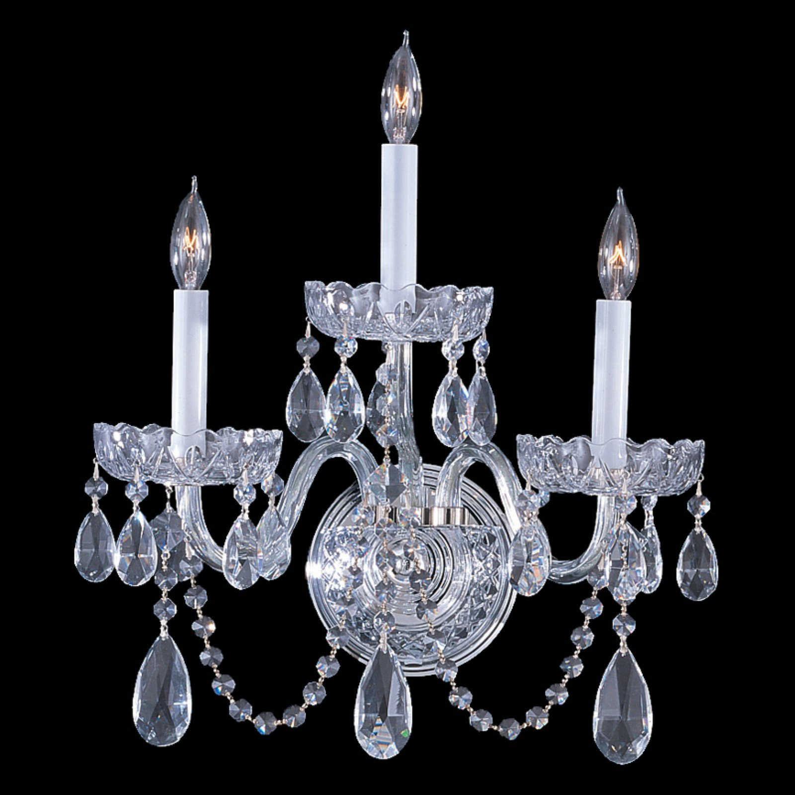 Crystorama 1033-CH-CL-S Traditional Swarovski Elements Crystal Wall Sconce 15W in. by Crystorama