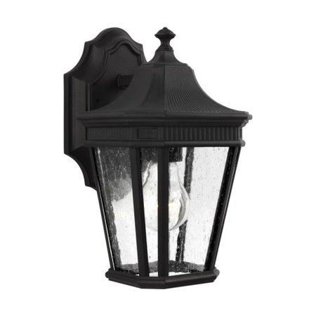 Murray Feiss Lighting Cotswold Lane One Light Outdoor Wall Lantern Black Finish With Clear Seeded Gl