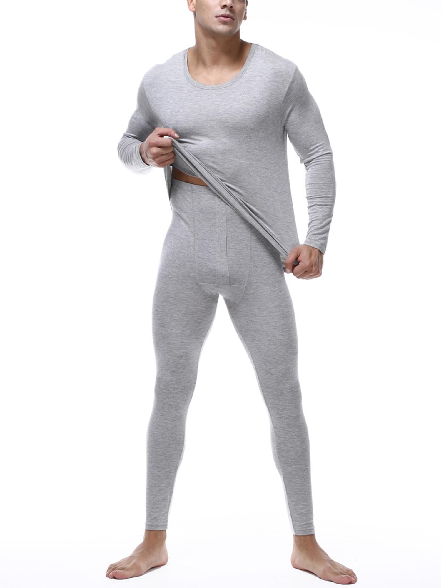Men/'s Thermal Long Johns Trousers Warm Underwear White