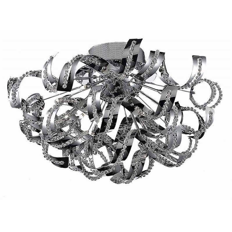 "Elegant Lighting Tiffany 26"" 19 Light Elegant Crystal Flush Mount"