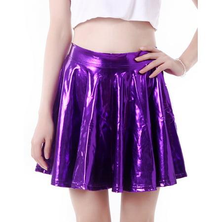 0b7d6cdb9 HDE - HDE Women's Shiny Liquid Metallic Wet Look Flared Pleated Skater Skirt  (Purple, Medium) - Walmart.com