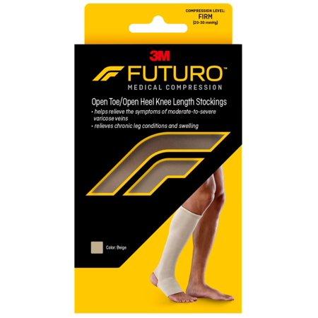 FUTURO™ Open Toe/Open Heel Knee Length Stocking for Men & Women, Large, Beige, Firm (20-30 mmHg)