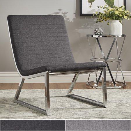 Swell Inspire Q Ululani Grey Linen Chrome Metal Leg Accent Chair Cjindustries Chair Design For Home Cjindustriesco
