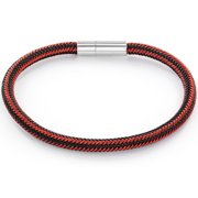 Red and Black Woven Stainless Steel Magnetic Closure Bracelet