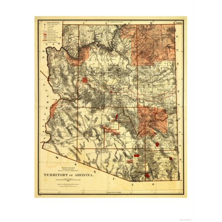 - Arizona Territory - Panoramic Map Print Wall Art By Lantern Press