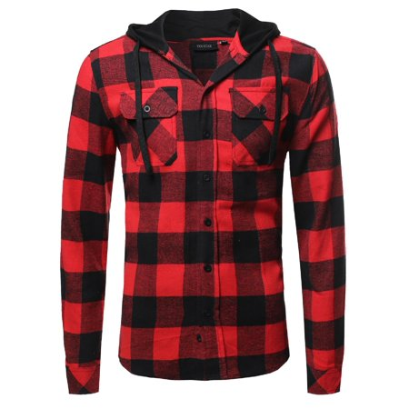 10b3de283a FashionOutfit - FashionOutfit Men's Plaid Flannel Long Sleeves Button  Closure Detachable Hoodie Shirt - Walmart.com