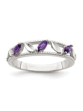 Sterling Silver Purple CZ Diamond-cut Leaves Ring, Size 6