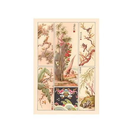 Asian Bird Panels Print (Unframed Paper Print (Asian Bird Panels)