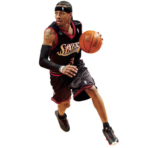 Allen Iverson Philadelphia 76ers Fathead Life Size Removable Wall Decal - No Size
