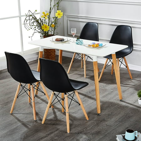 Eames Chair Black Plastic Shell, Modern Dining Armless Chairs Steel Frame,Wood Leg Base Mid Century Easy Assemble Black