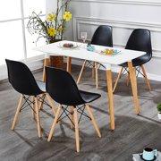 Dining  Chair Black Plastic Shell, ModernDining Armless Chairs Steel Frame,Wood Leg Base Mid Century Easy Assemble BlackDining