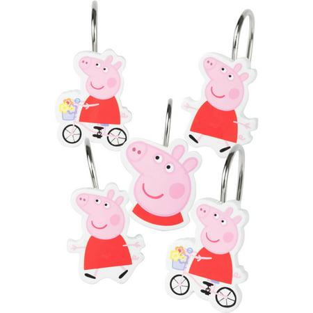 Peppa Pig 'Peppas Pond' Shower Curtain Hooks, Set of 12