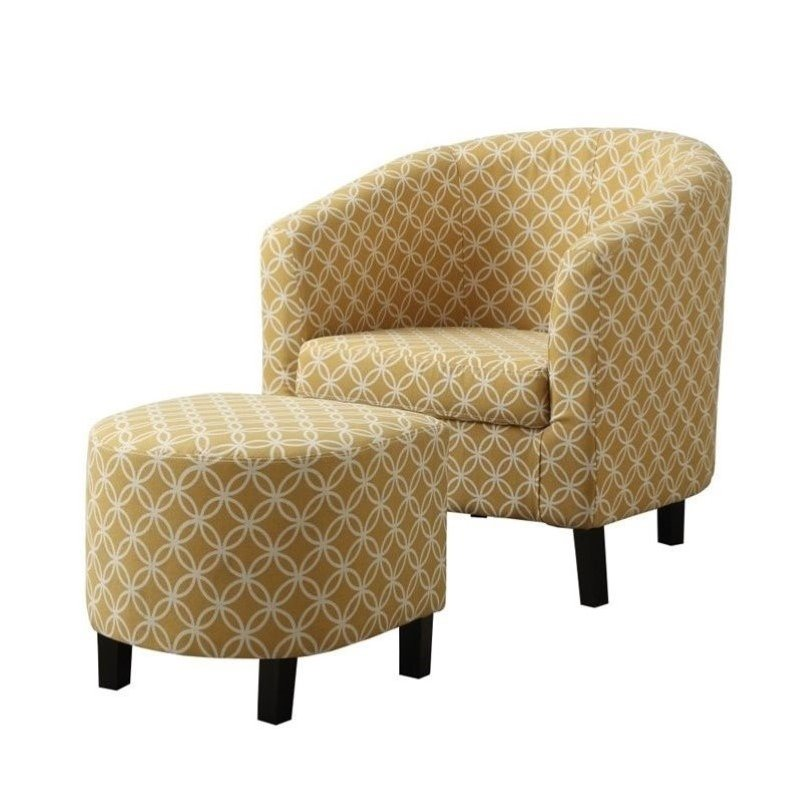 Pemberly Row Upholstered  Accent Club Arm Chair and Ottoman in Yellow - image 1 of 2