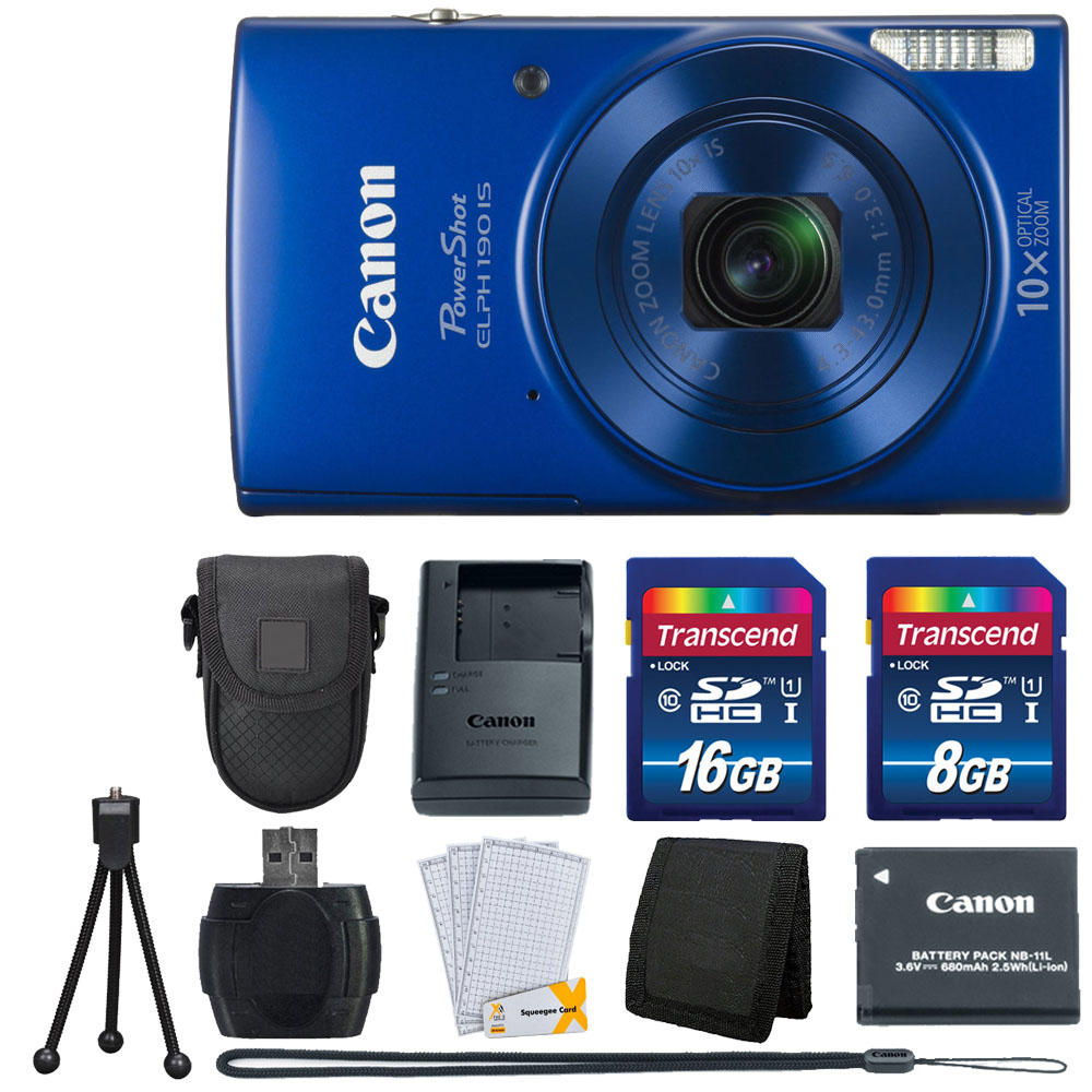 Canon PowerShot ELPH 190 IS Blue with 10x Optical Zoom Great Value Bundle!!