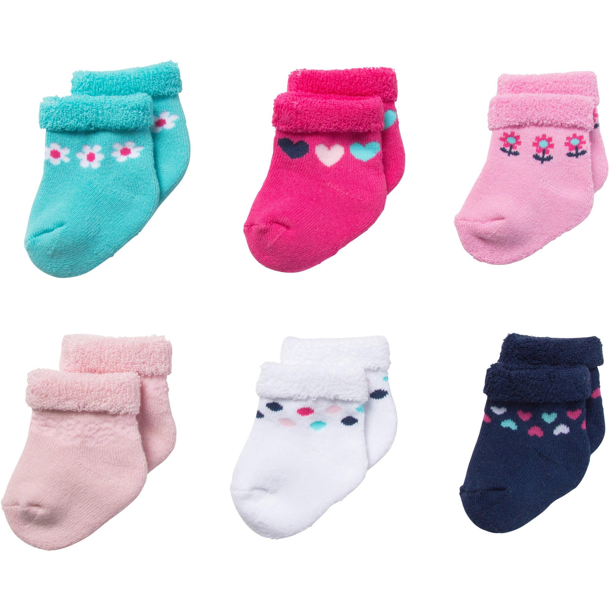 Newborn Baby Uni White Terry Bootie Socks 6 Pack Walmart