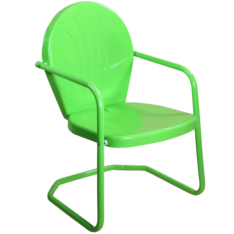 Outdoor Retro Metal Tulip Armchair, Lime Green