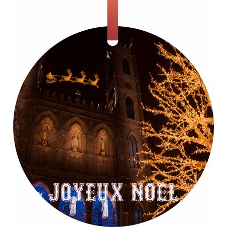 Santa and Sleigh Riding Over The Notre Dame Cathedral on Christmas Eve - TM - Flat Round-Shaped Holiday Tree Ornament Made in the USA