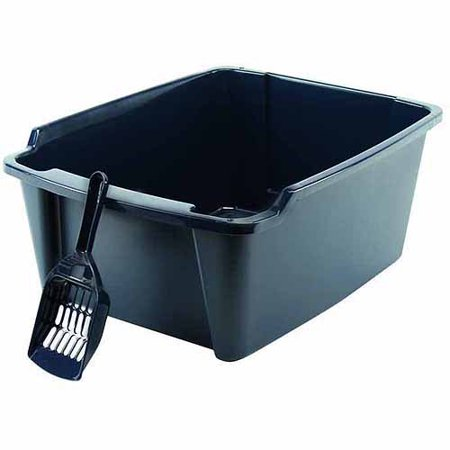 Iris High Sided Cat Litter Pan With Scoop  Navy