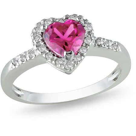 7/8 Carat T.G.W. Pink Sapphire and Diamond-Accent Sterling Silver Heart Ring ()