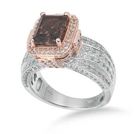 Sterling Silver 5.58 TCW Smoky Quartz Ring - Brown