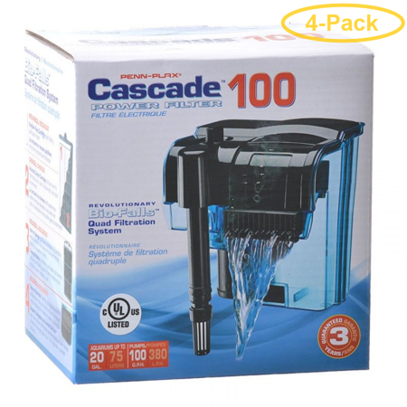 Cascade 100 Hang-on Power Aquarium Filter Up to 20 Gallons (100 GPH) - Pack of (Best Filter For 100 Gallon Tank)