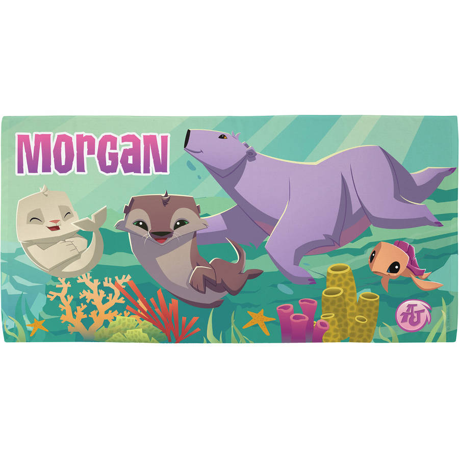 Personalized Animal Jam Under the Sea Kids Beach Towel, Pink
