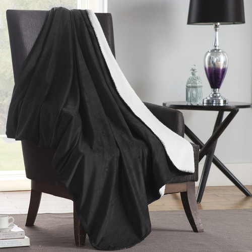 VCNY Solid Plush Reversible Throw