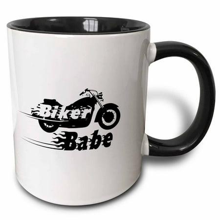 Babe Mug (3dRose Biker Babe - motorbike girl woman motorcycle culture. Fast bike. cool black and white flaming text - Two Tone Black Mug, 11-ounce )
