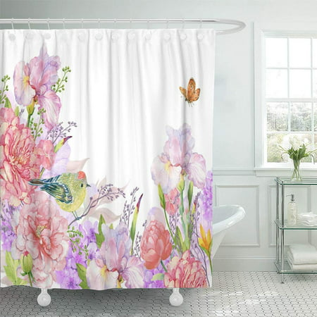 PKNMT Floral of Watercolor Flowers Peonies Irises Hydrangeas Butterflies and Bird Pattern Waterproof Bathroom Shower Curtains Set 66x72 inch