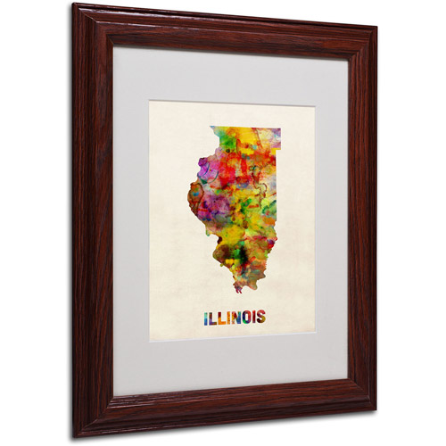 "Trademark Fine Art ""Illinois Map"" Matted Framed Art by Michael Tompsett, Wood Frame"