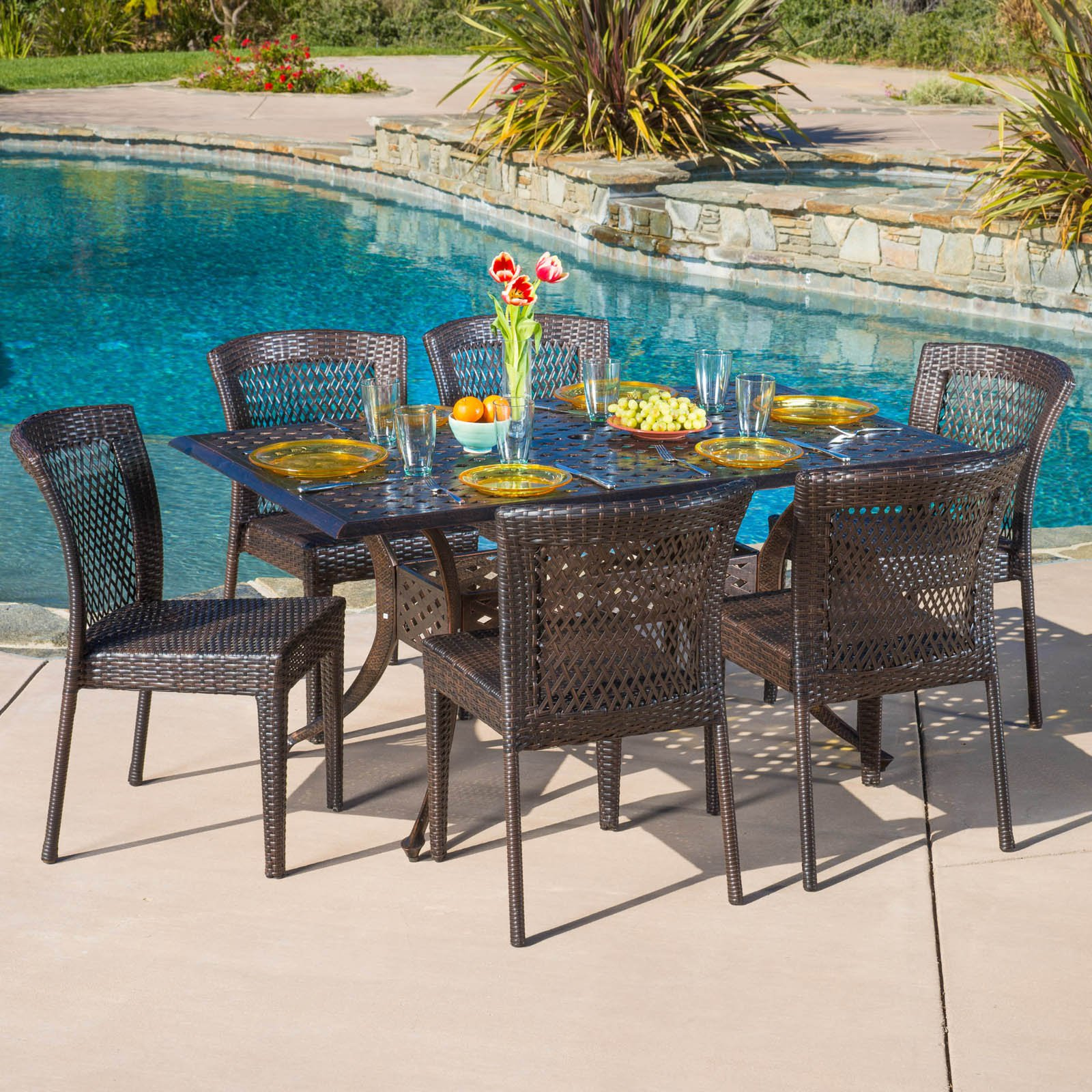Landry Wicker 7 Piece Rectangular Patio Dining Set