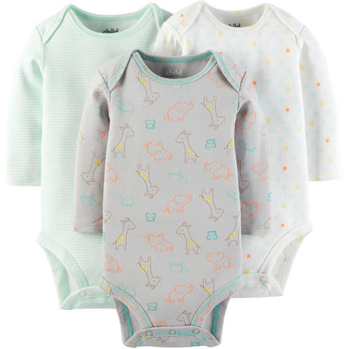 Child Of Mine by Carter's Newborn Baby Long Sleeve Bodysuit, 3 Pack