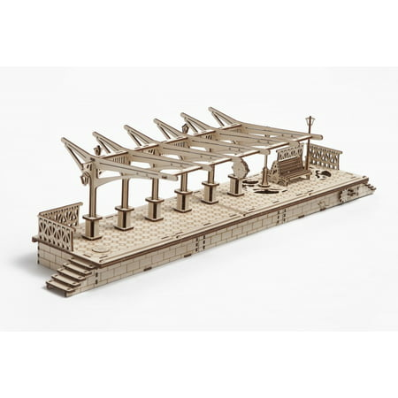 Ugears Railway Platform Mechanical 3D Puzzle Best Eco-Friendly Wooden Gift Set for Kids and
