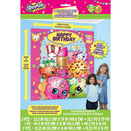 Giant Shopkins Photo Backdrop and Wall Decoration, 6.25 x 5.5 ft, 1ct