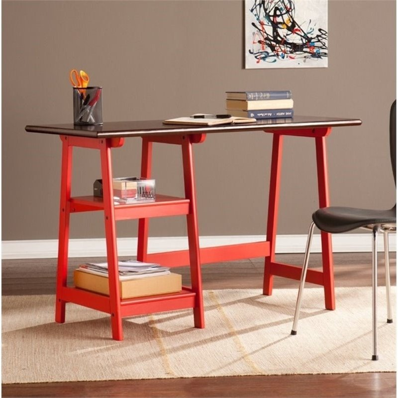 Pemberly Row Desk in Red and Espresso