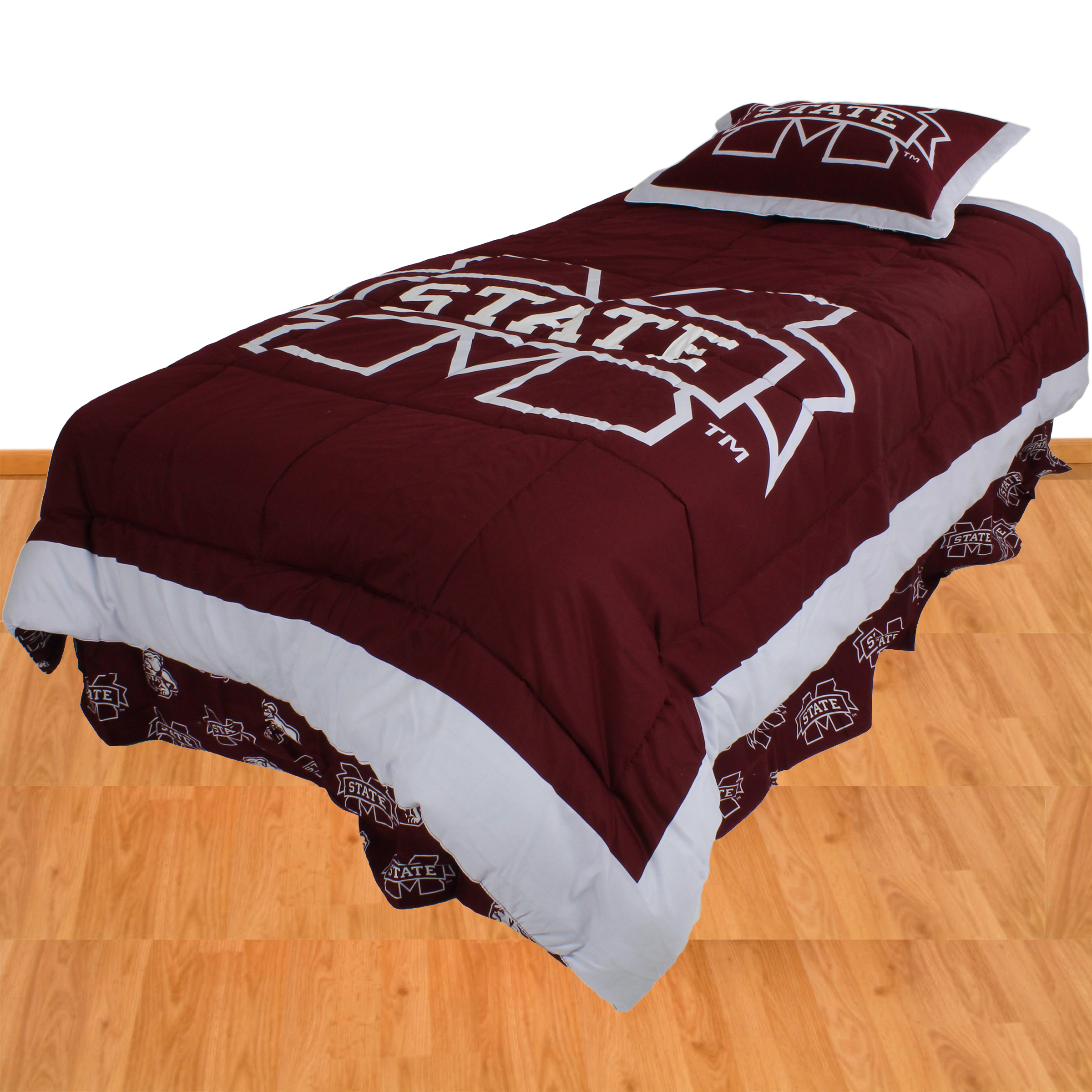 Mississippi State Bulldogs 2 Pc Comforter Set, 1 Comforter, 1 Sham, Twin