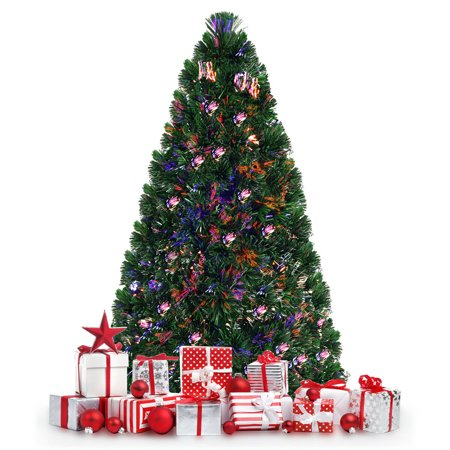 Costway Pre-Lit Fiber Optic Artificial PVC Christmas Tree 6Ft ()