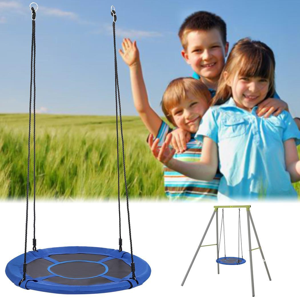 """Flying Squirrel Giant Rope Swing - 40"""" Saucer Tree Swing - Green, Blue"""