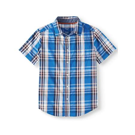 Little Boys Plaid Shirt (Wonder Nation Short Sleeve Plaid Button-Up Shirt (Little Boys, Big Boys, & Husky))
