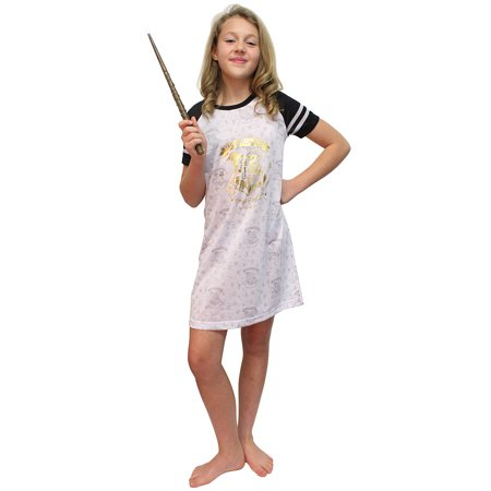 Intimo Big Girls' Harry Potter Hogwarts Gold Foil S/S Raglan Night Gown - Hogwarts Robe