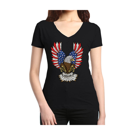 4th of July Eagle American Flag Women V-Neck T-Shirt Day Womens V-neck T-shirt