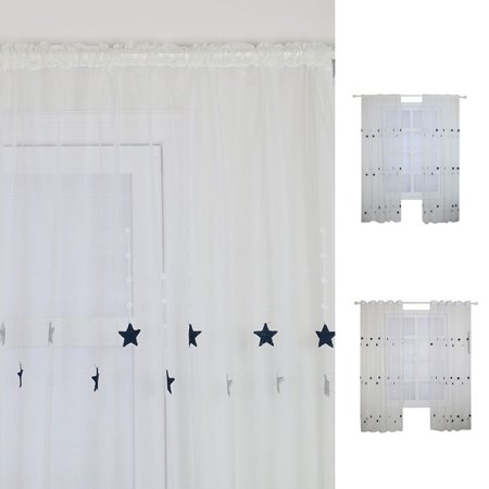 fashionhome Sheer Curtain Black Star Pattern Voile Curtain Panel Living Room Childrem's Bedroom Windows Drape - image 3 of 8