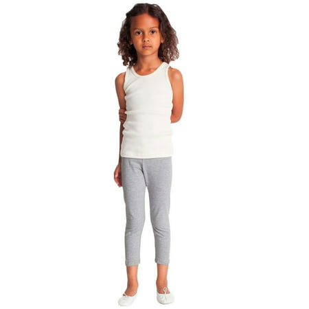 Vivian's Fashions Capri Leggings - Girls, Cotton (Grey, - Girls Pink Lady Jacket