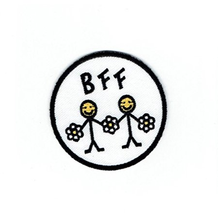 Smiley Face Emoji Best Friends Daisy Flowers - Iron on Applique - Embroidered (Best Smiley Face App)