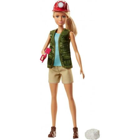 Barbie Paleontologist Doll with Blonde Hair, Helmet, Brush & - Halloween Doll Hair