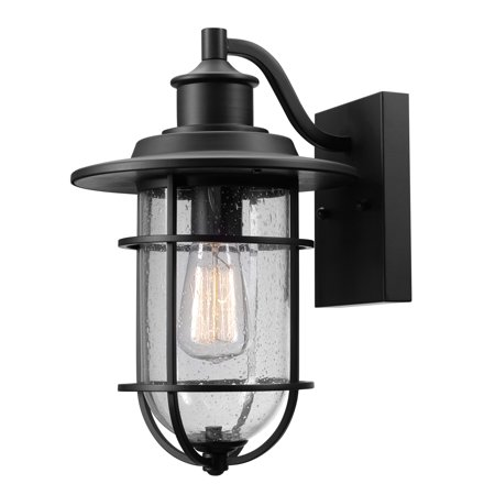 Globe Electric Turner 1-Light Outdoor/Indoor Seeded Glass Shade Wall Sconce Light, 44094 ()