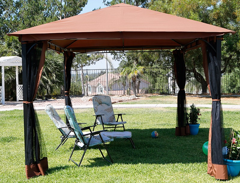 10u0027 X 12u0027 Outdoor Backyard Regency Patio Canopy Gazebo Tent, With Netting  Image