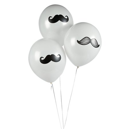 Mustache Latex Balloons Party Favors - 12 Pieces, With each balloon featuring a manly mustache, these latex balloons are quite the dapper party decoration By Fun Express - Buy A Mustache