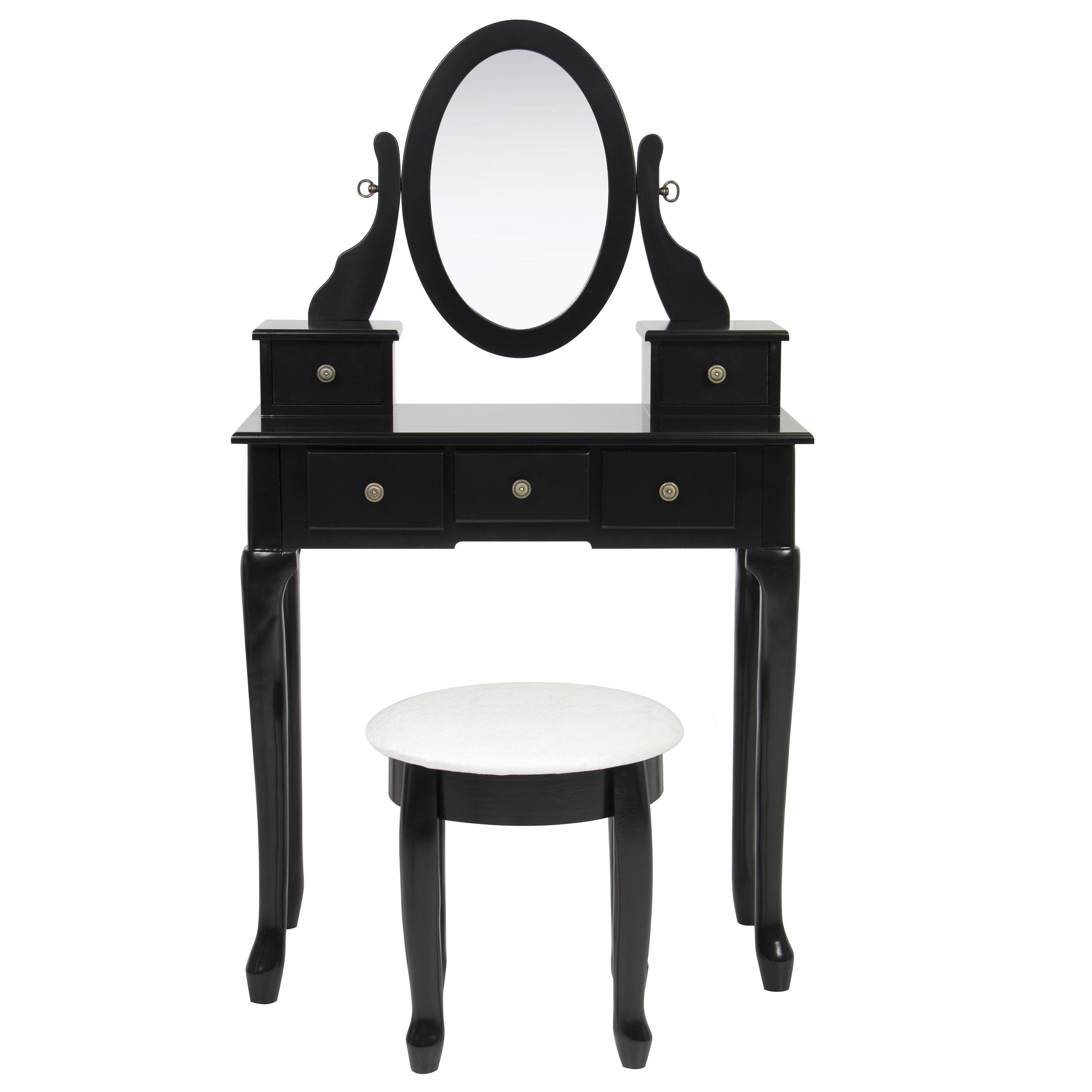 Best Choice Products Bathroom Vanity Table Set Makeup Desk Hair Dressing Organizer Black